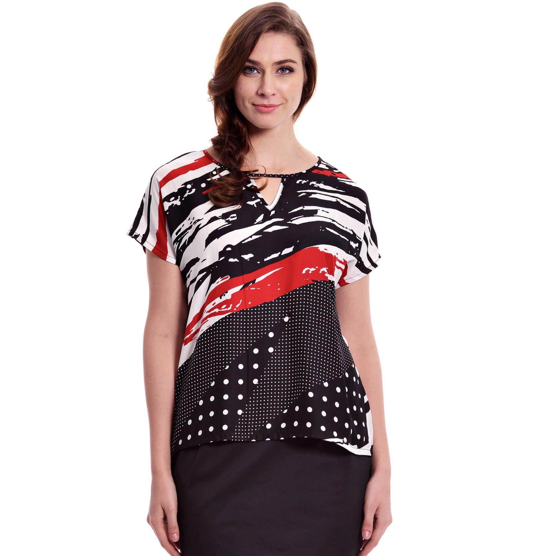 Jazz & Co Women Plus  Short Sleeve Keyhole Printed Top (Black)