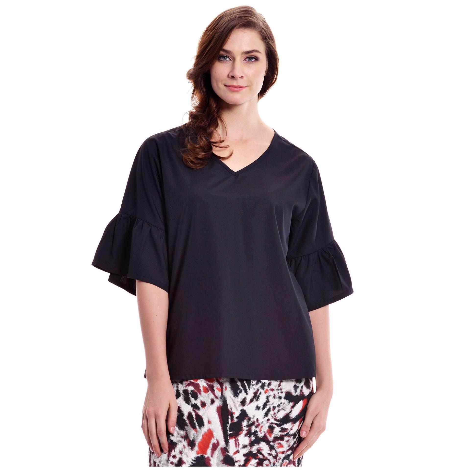 Jazz & Co Women Plus  Wide Sleeve V-Neck Top (Black)