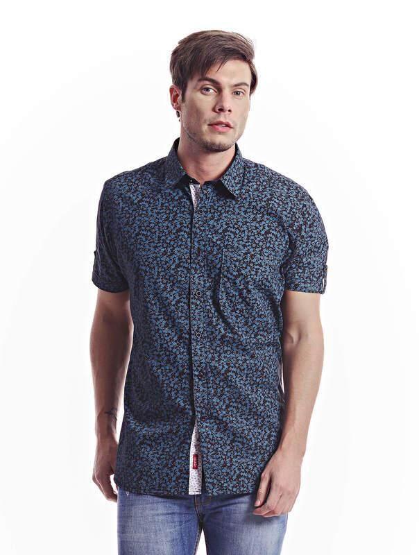 Jazz & Co Men black short sleeve shirt ( black )