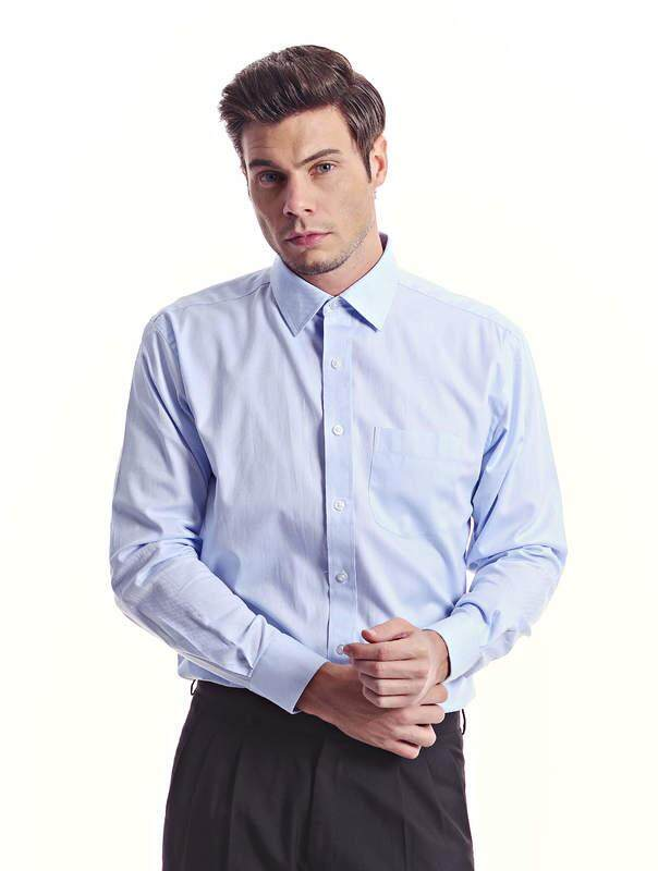 Jazz & Co Men light blue long sleeve jacquard shirt ( light blue )