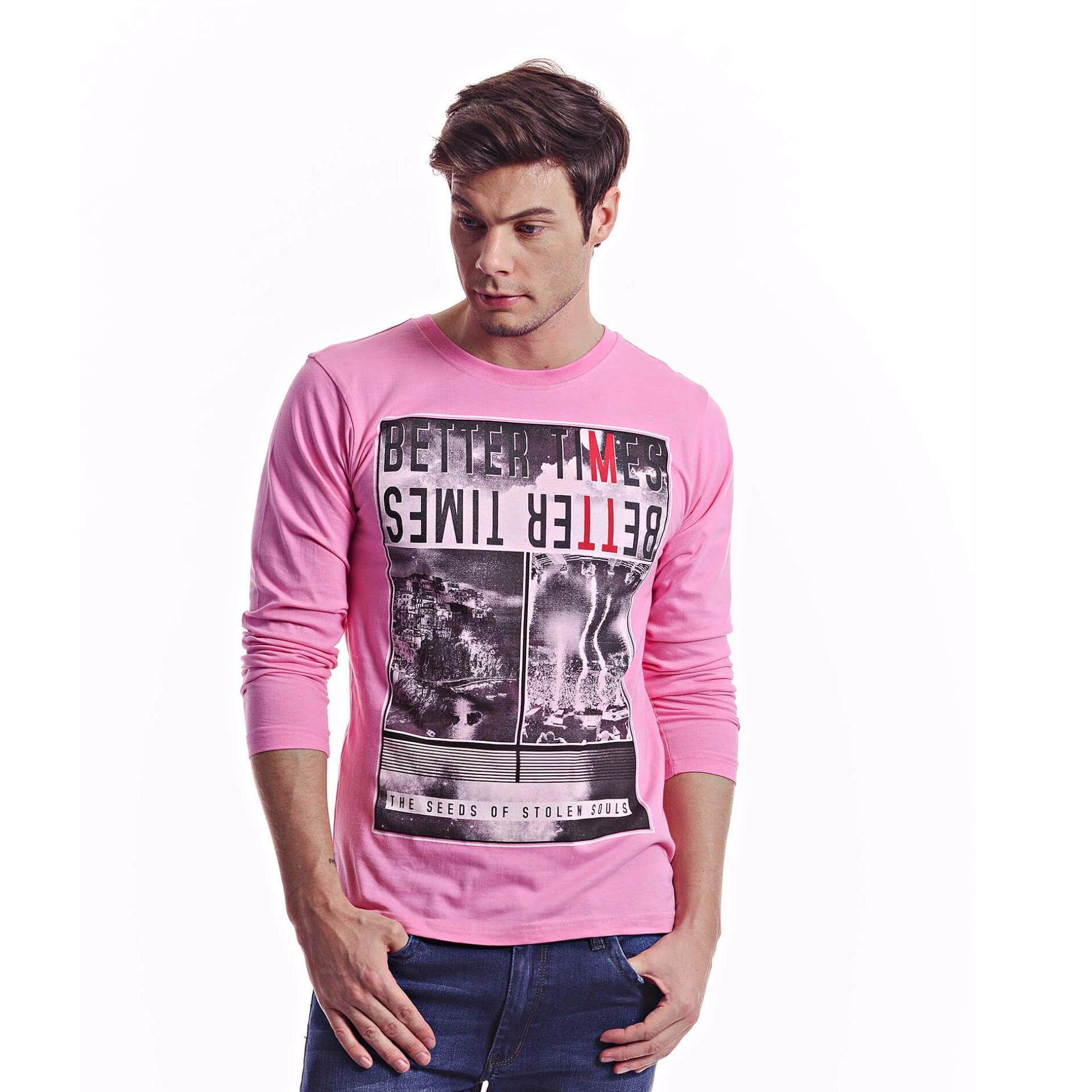 Jazz & Co Men Long Sleeve Round Neck Graphic Tee (Pink)