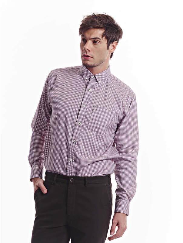 Jazz & Co Men maroon long sleeve micro-checks shirt ( maroon )