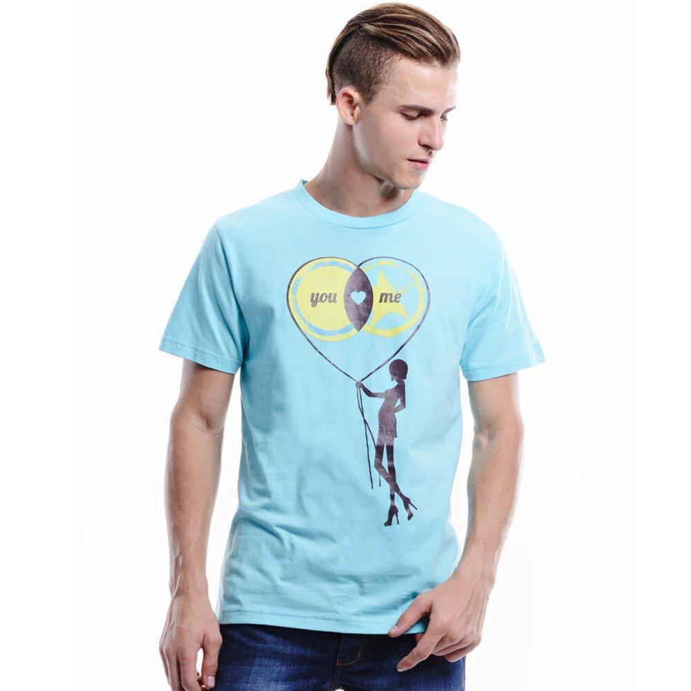 Jazz & Co Men Short Sleeve Round Neck Graphic Tee ( Lt Blue )