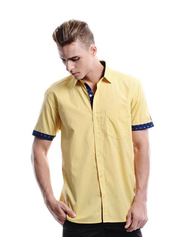 Jazz & Co Men yellow short sleeve shirt ( yellow )