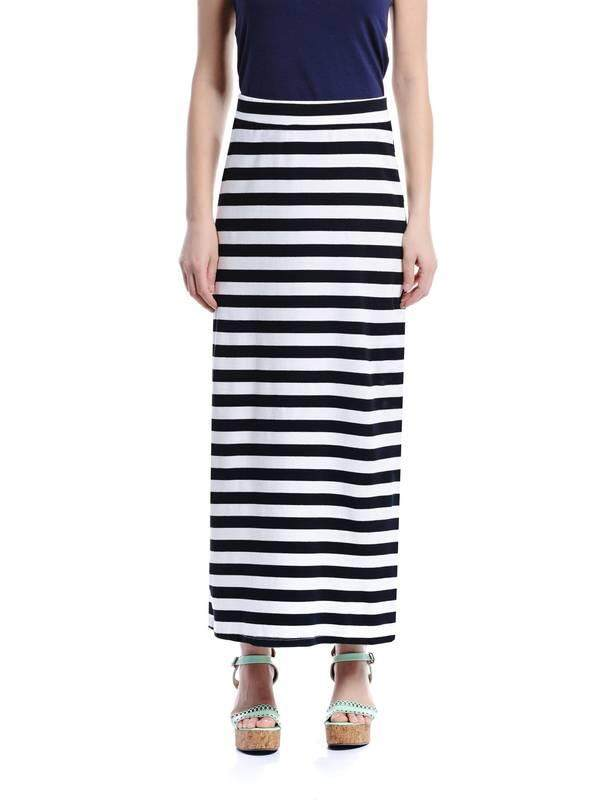 Jazz & Co Women Maxi Stripe Skirts (Black )