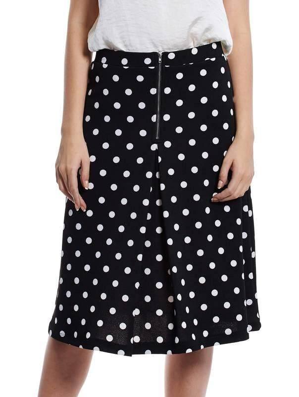Jazz & Co Women Pokka Dot Midi Skirts (Black )