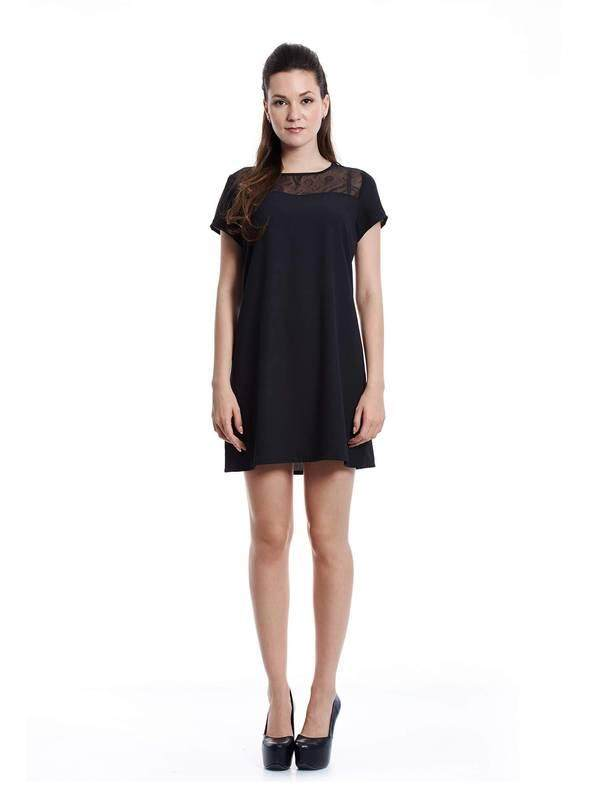 Jazz & Co Women Short Sleeve Midi Dress ( Black )