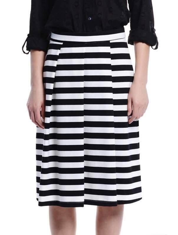 Jazz & Co Women Stripe Midi Skirts ( Black )