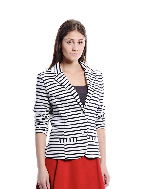 Jazz & Co Women Stripe Waistcoat Outerwear (Black )