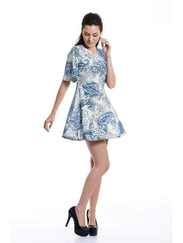 Jazz & Co Women Paisley Midi Dress ( Blue )