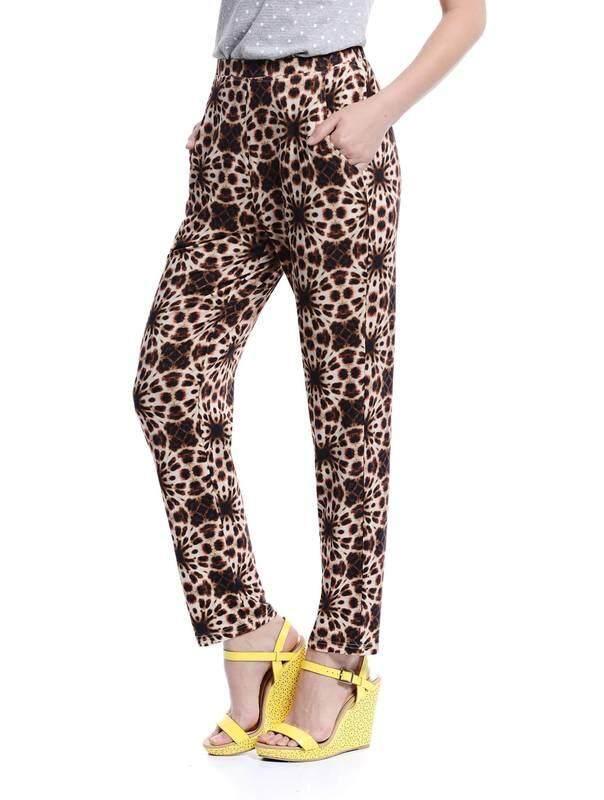 Jazz & Co Women Printed Easy Pants ( Brown )