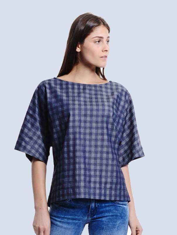 Jazz & Co Women Checks Short Sleeve Tops ( Indigo )