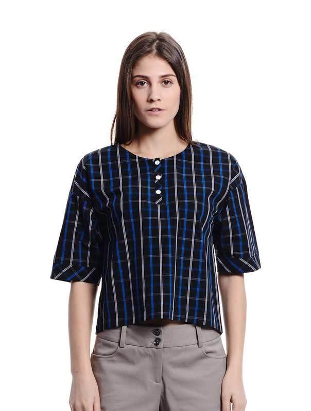 Jazz & Co Women Checks Wide Sleeve Tops (Blue )