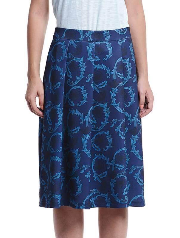 Jazz & Co Women Printed Midi Skirts ( Dark Blue )