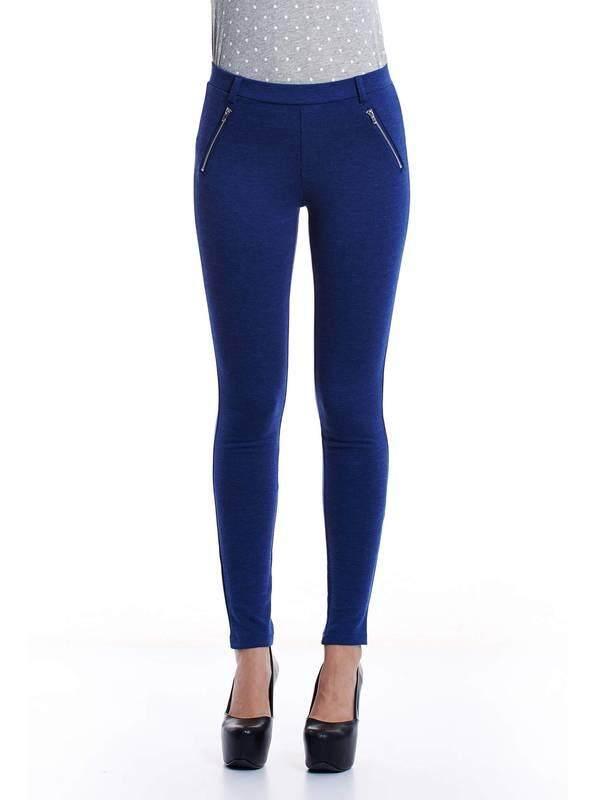 Jazz & Co Women Slim Melange Pants ( Dark Blue )