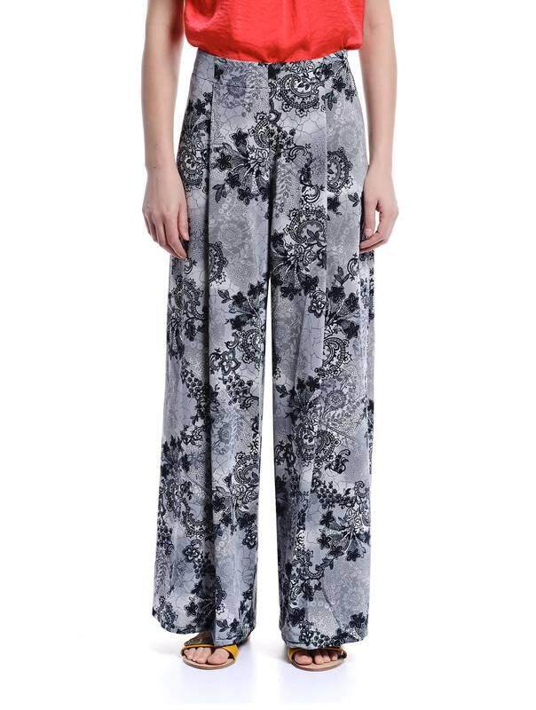 Jazz & Co Women Printed Flare Pants  (Grey)