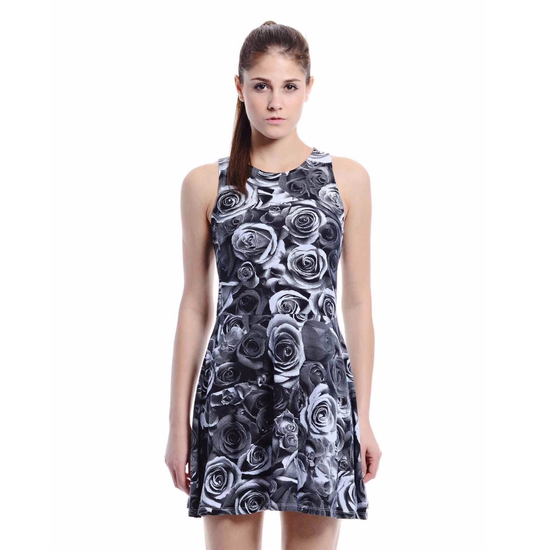 Jazz & Co Women Printed Sleeveless Midi Dress ( Grey)