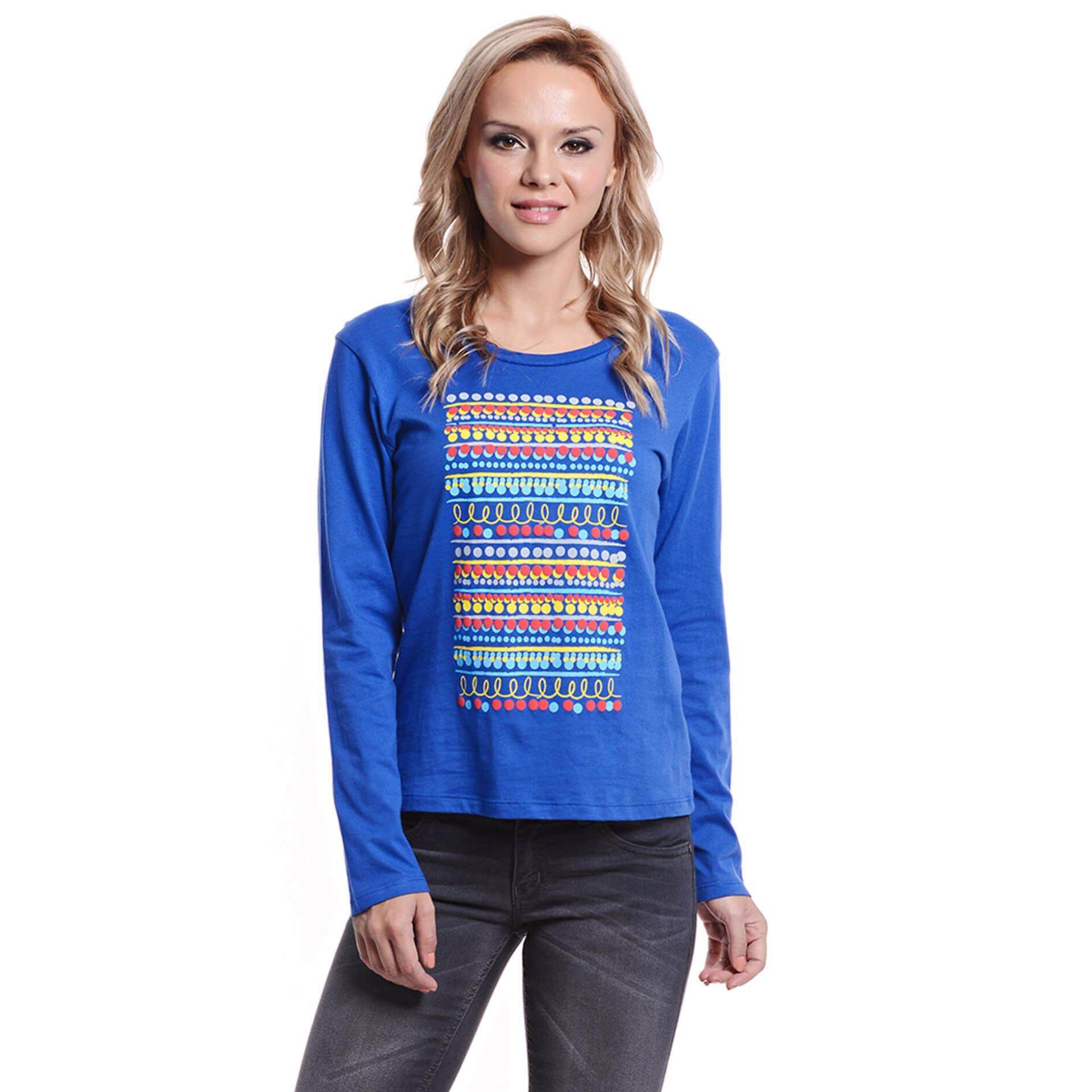 Jazz & Co Women Long Sleeve Round Neck Graphic Tee ( Blue)