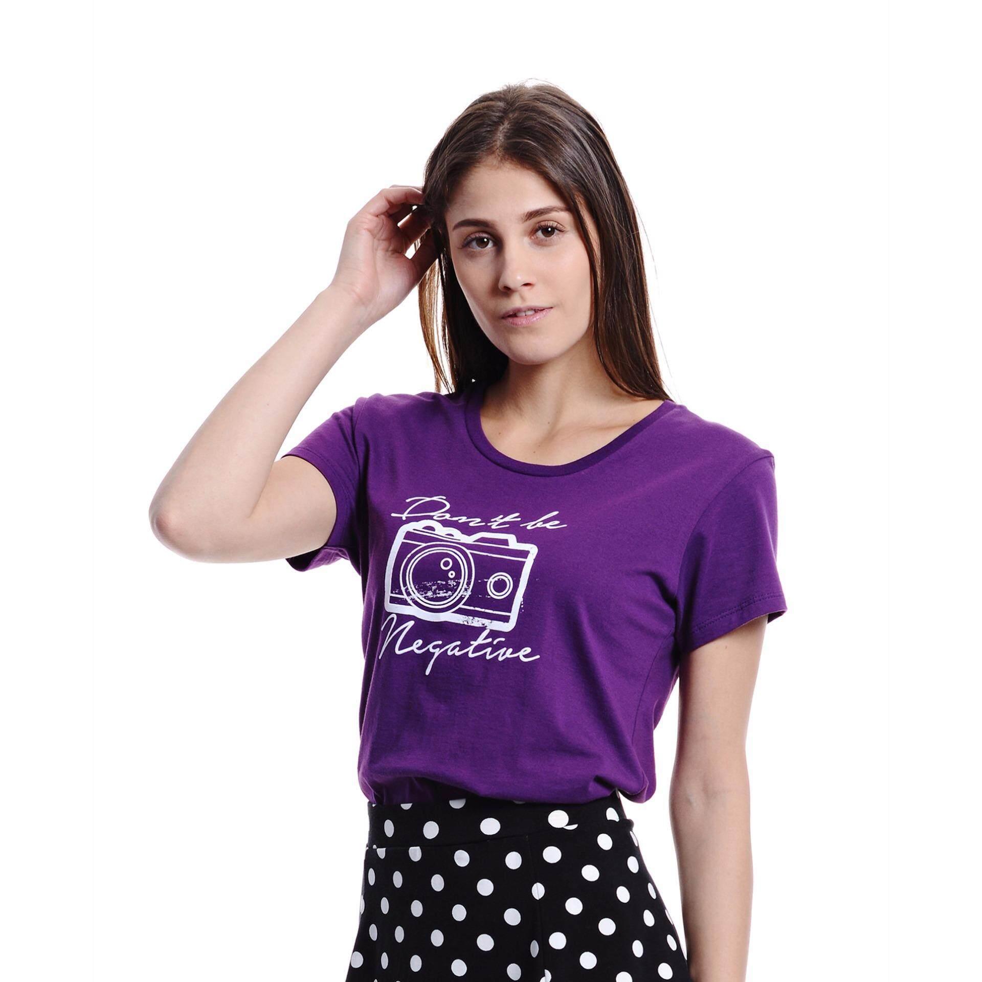 Jazz & Co Women Short Sleeve Round Neck Graphic Tee (Dk Purple)