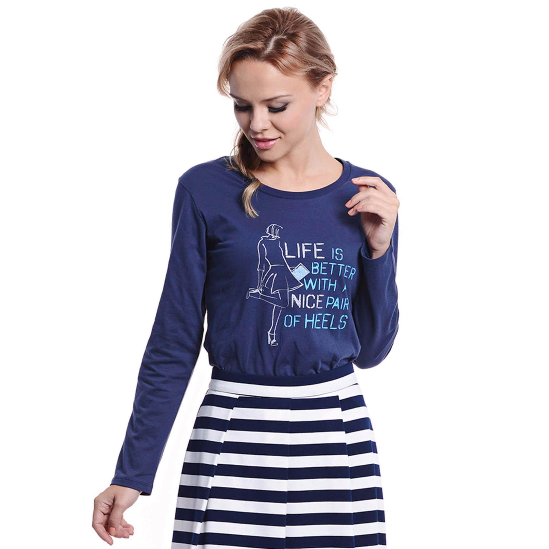 Jazz & Co Women Long Sleeve Round Neck Graphic Tee ( Navy)