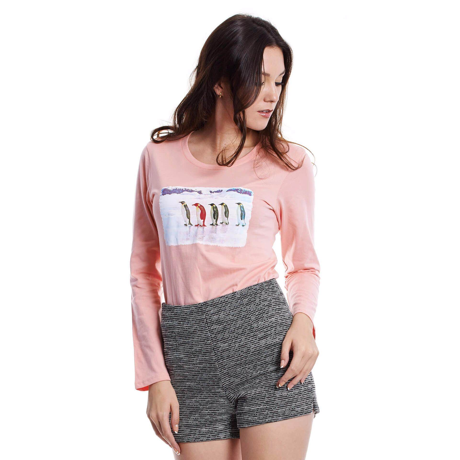 Jazz & Co Women Long Sleeve Round Neck Graphic Tee (Pink)