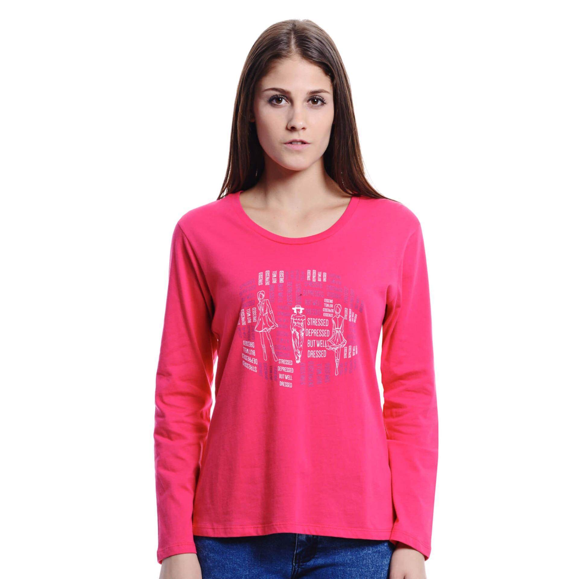 Jazz & Co Women Long Sleeve Round Neck Graphic Tee( Pink )