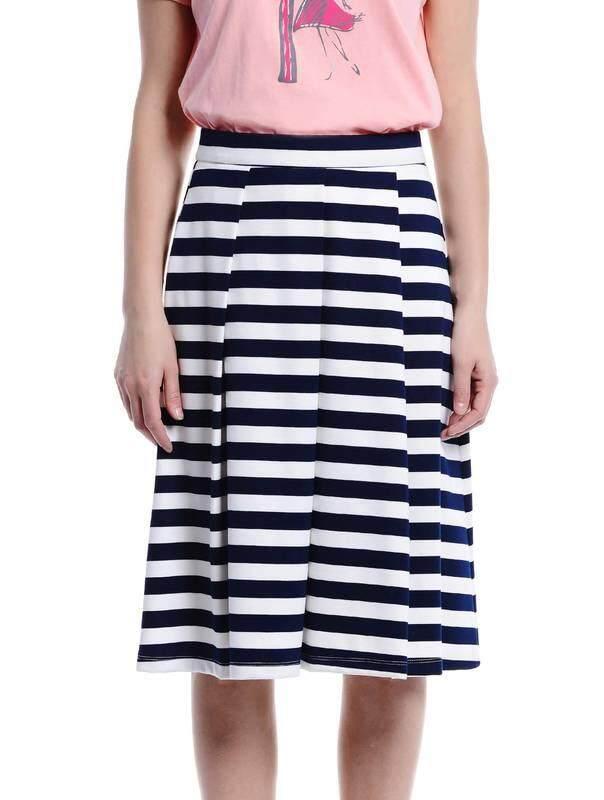 Jazz & Co Women Stripe Midi Skirts (Navy )