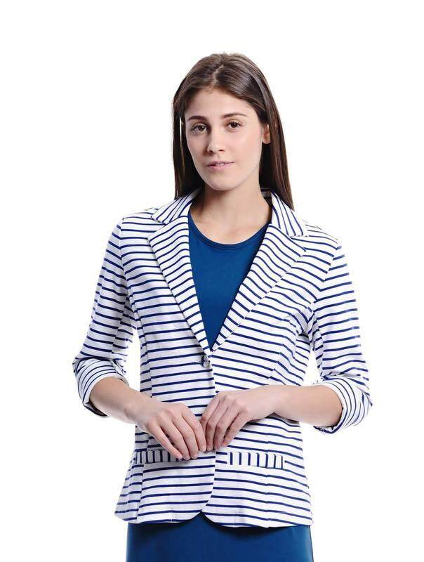 Jazz & Co Women Stripe Waistcoat Outerwear ( Navy )