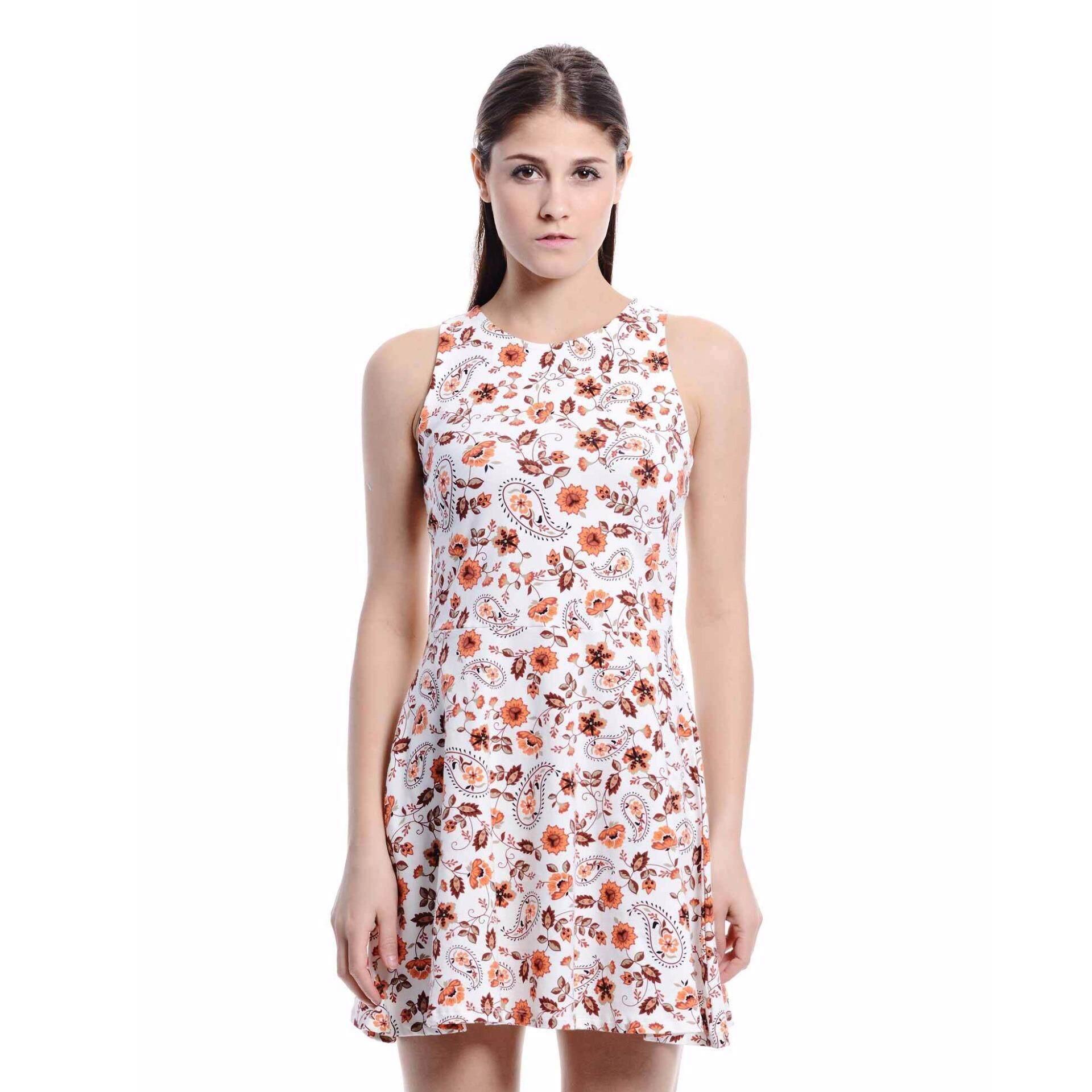 Jazz & Co Women Printed Sleevless Midi Dress ( Off White)