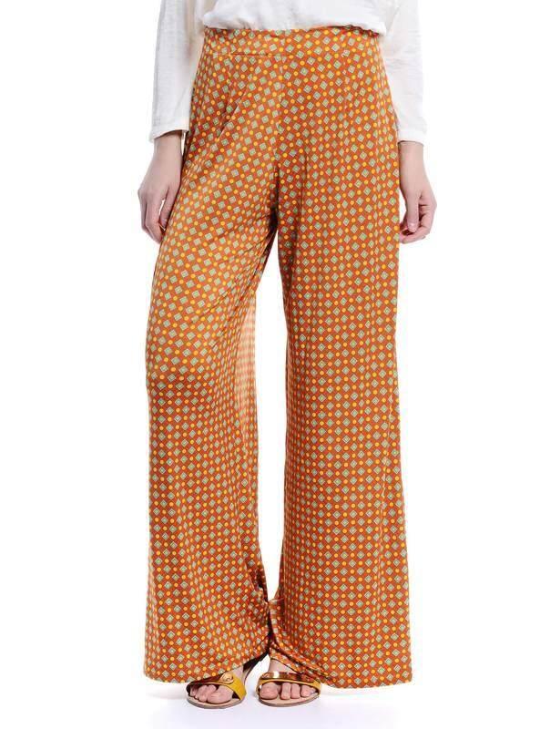 Jazz & Co Women Printed Flared Pants (Orange )