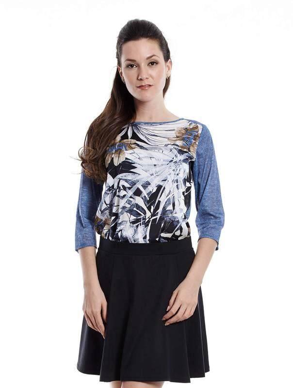 Jazz & Co Women Printed 3/4 Sleeve Tops  ( Blue )