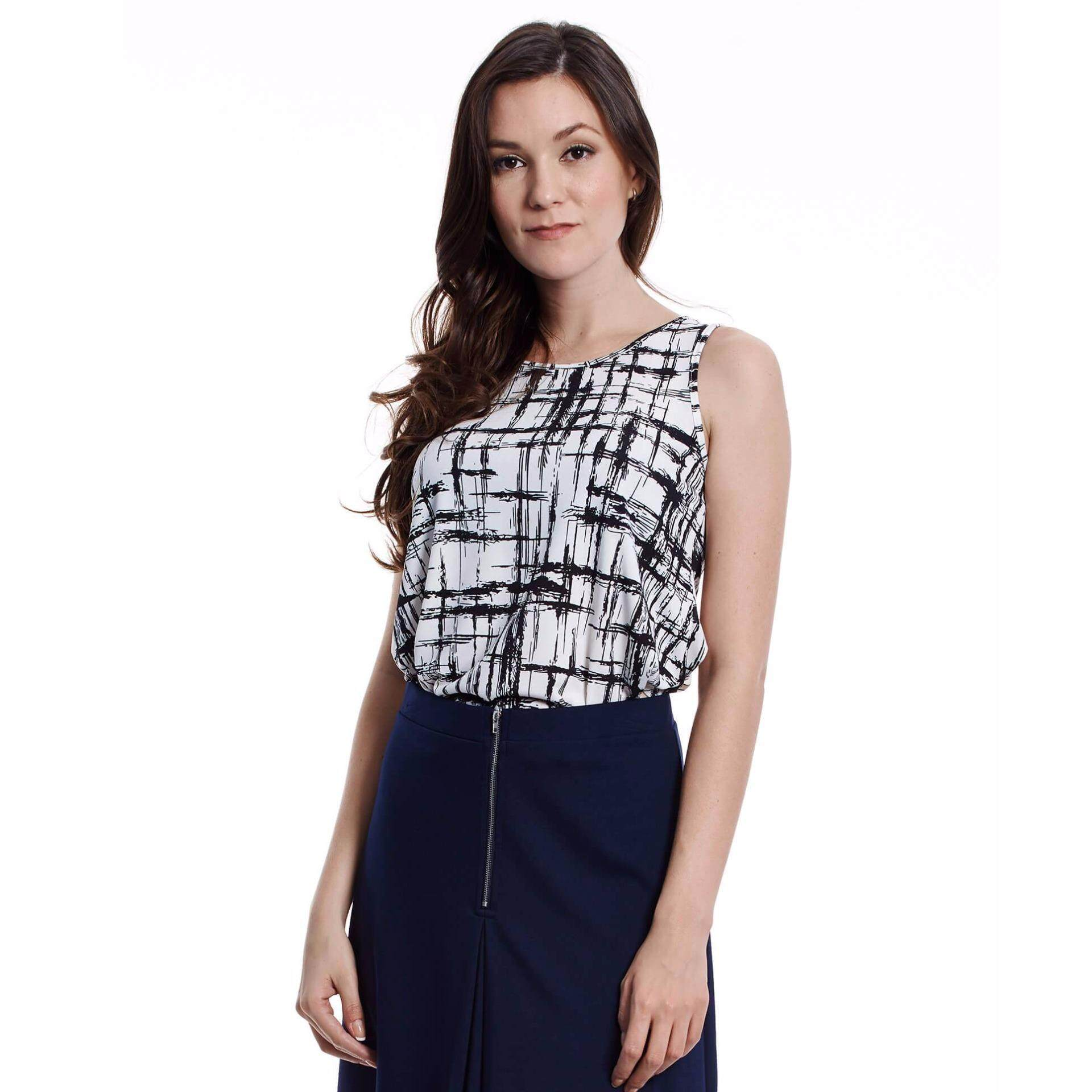 Jazz & Co Women Printed Sleeveless Top (Black)