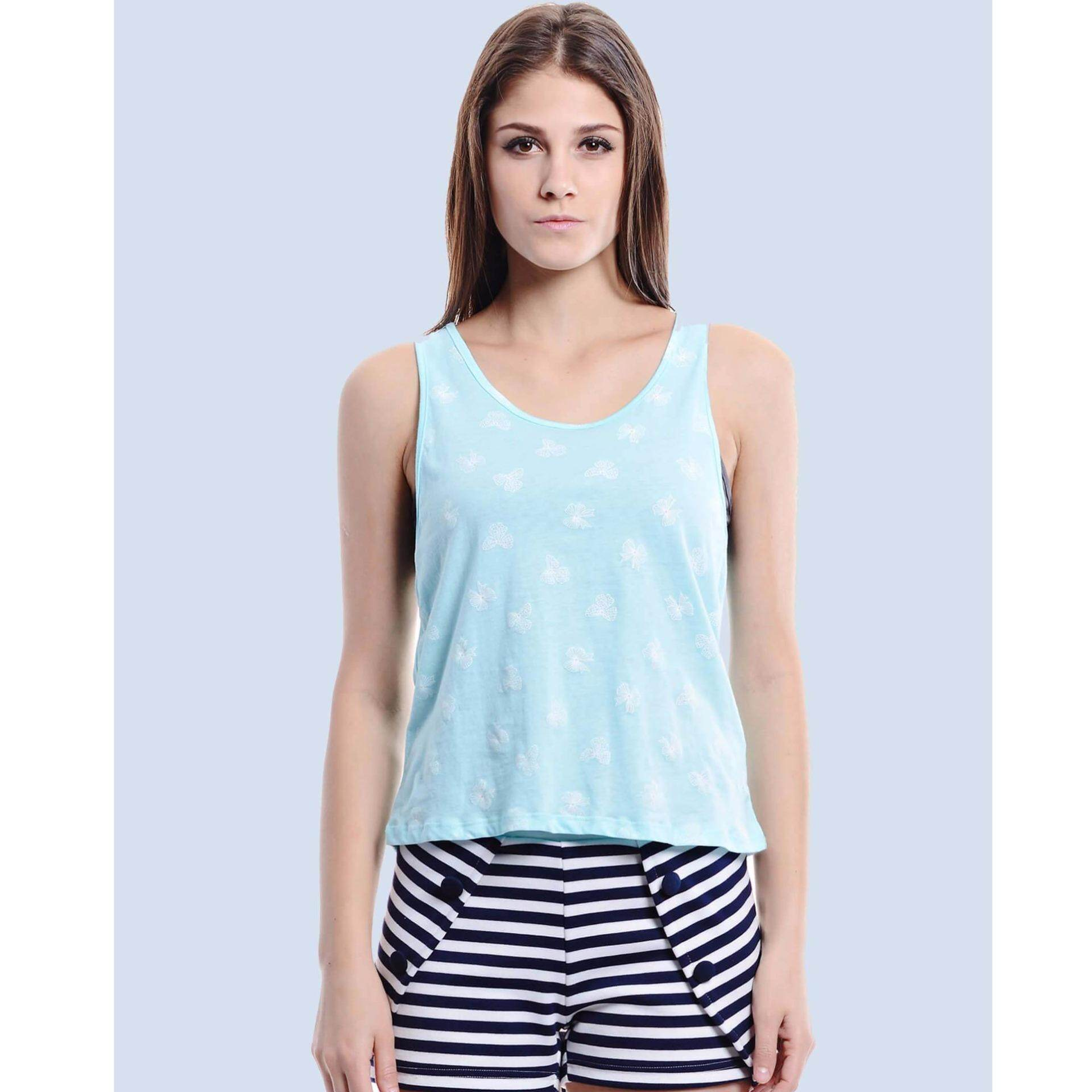 Jazz & Co Women  Printed Sleeveless Top (Green)