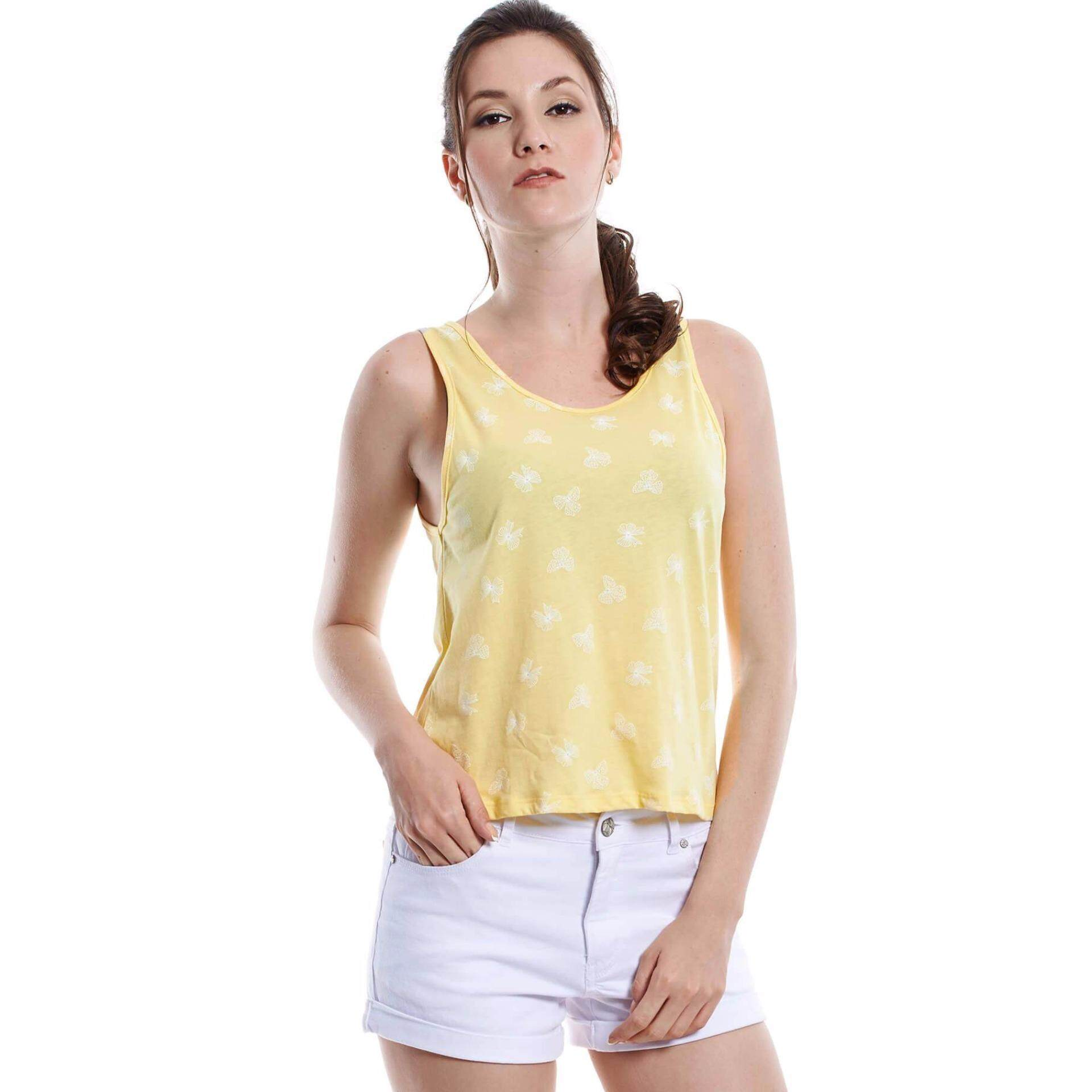 Jazz & Co Women  Printed Sleeveless Top ( Yellow)