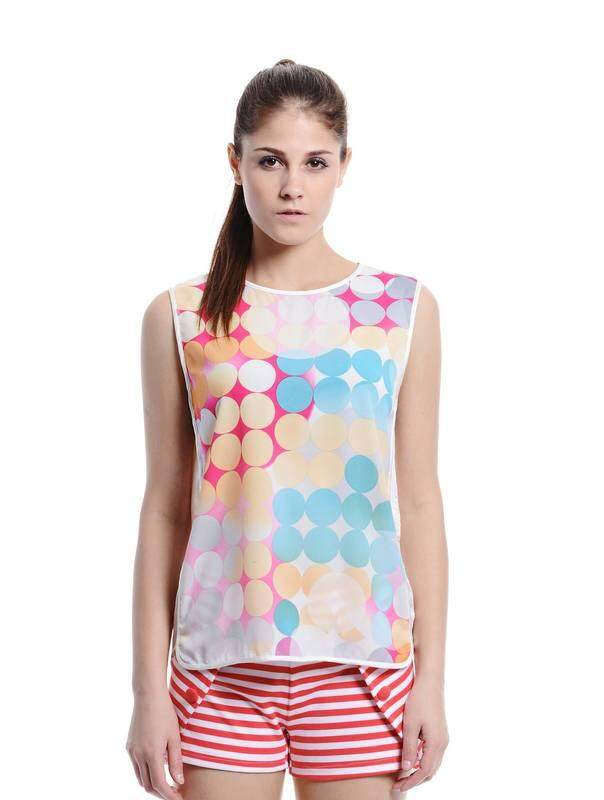 Jazz & Co Women Printed Sleeveless Tops ( Pink )