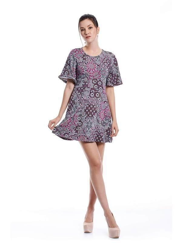 Jazz & Co Women Geometric Midi Dress ( Purple)