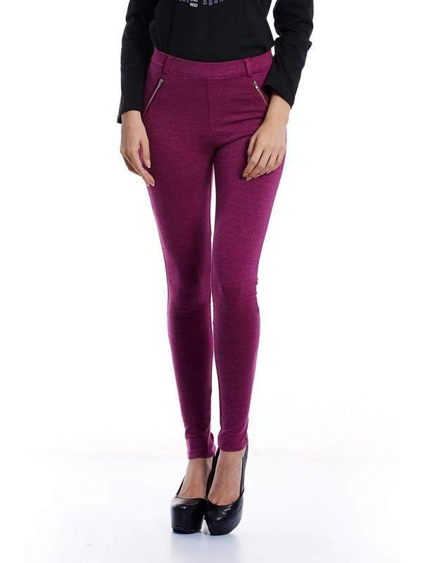 Jazz & Co Women Slim Melange Pants (Purple )
