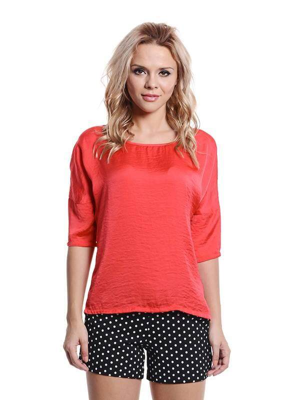 Jazz & Co Women red 3/4 sleeve tops ( red )