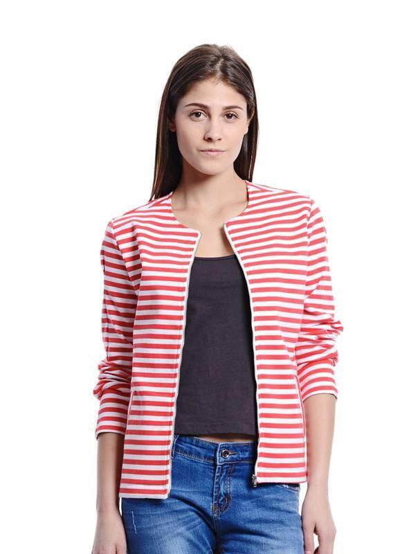 Jazz & Co Women Stripe Bomber Outerwear ( Red )