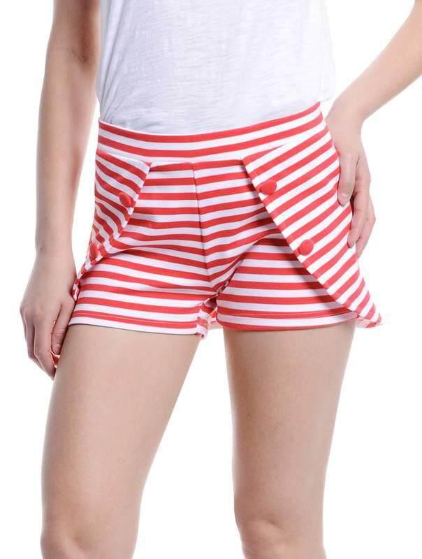 Jazz & Co Women Stripe Shorts ( Red )