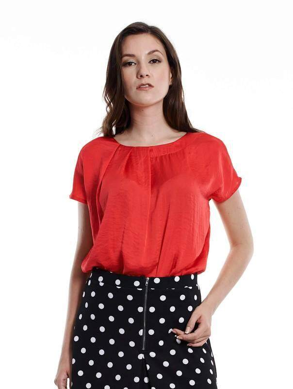 Jazz & Co Women red short sleeve tops ( red )