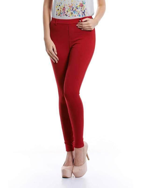 Jazz & Co Women Slim Straight Pants  ( Red )