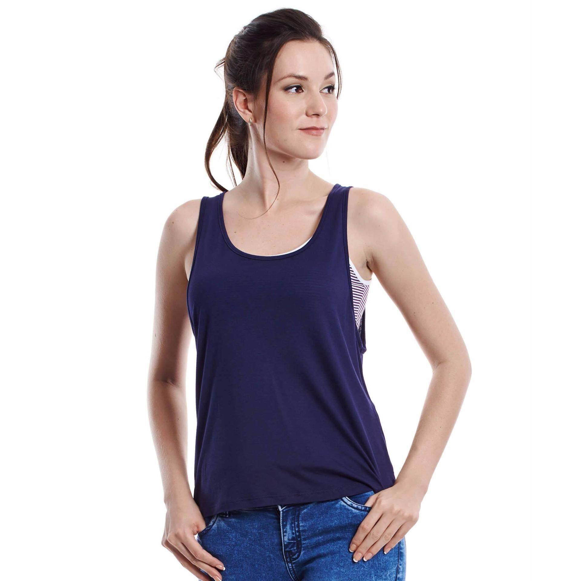 Jazz & Co Women Sleeveless Top ( Navy)