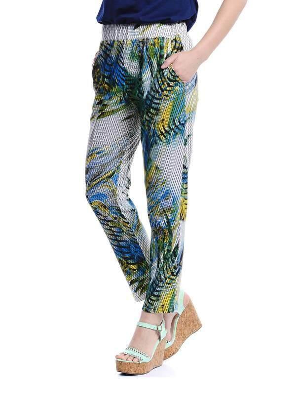 Jazz & Co Women Printed Easy Pants ( White)