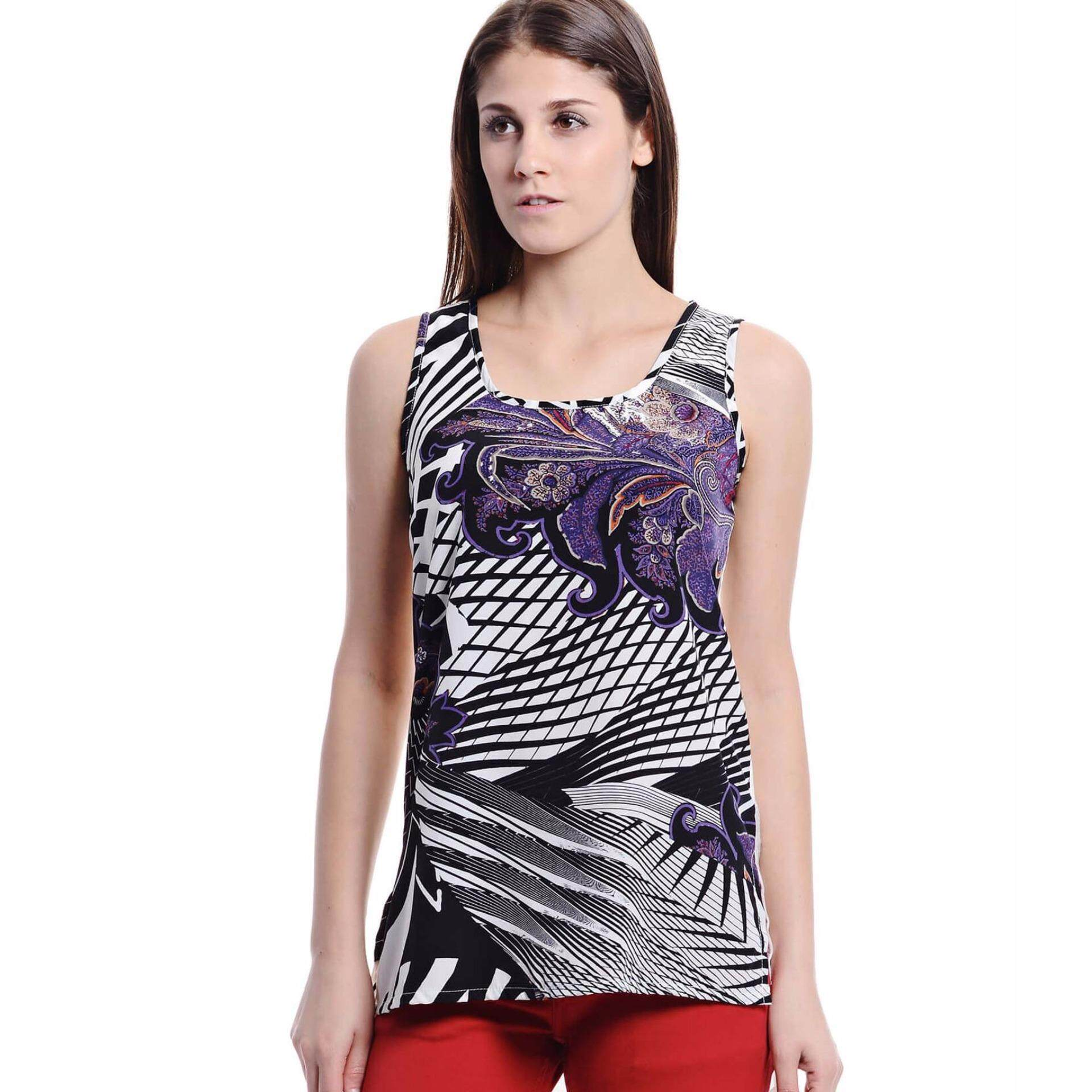Jazz & Co Women Printed Sleeveless Tops  (White )