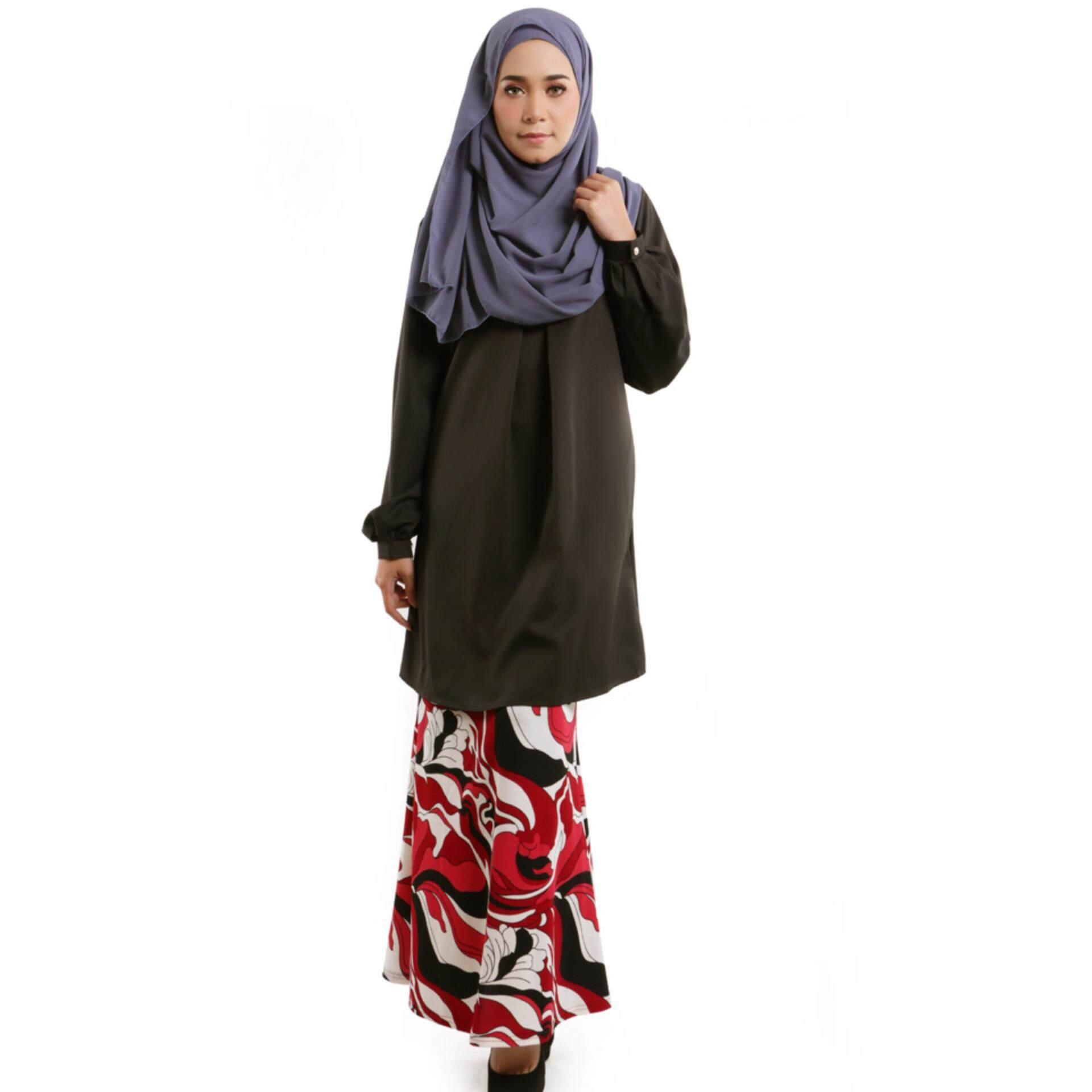 JF Fashion Fenna Kurung Set Blouse and Skirt M397 (Black)