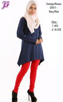 ... JF Fashion Kemeja Blouse D351 (Navy-Blue) - 3 ...