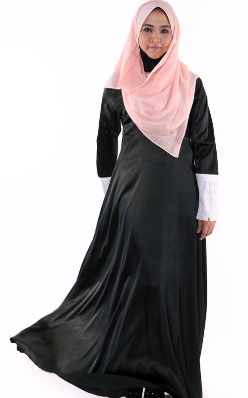 JF Fashion Long Sleeve Satin Jubah Dress with Lace Embroidery C345 (Black)