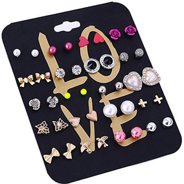 Joya Gift JOYA GIFT 20 Pairs Dainty Crystal Pearl Earring Sets Ear Stud Mixed Design Modern Style Jewelry Gift For Women Girls - intl