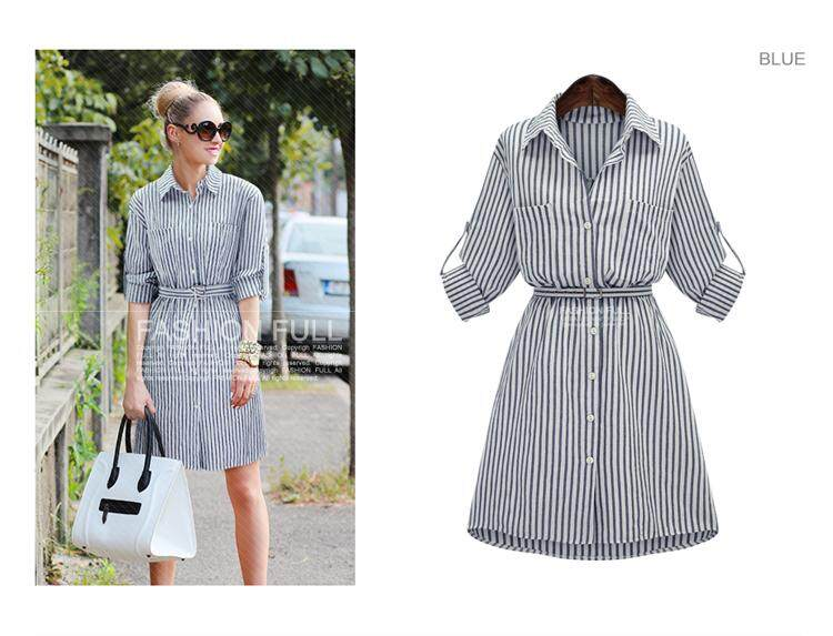 JYS Fashion: European Style Top & Dress Collection 102 90810-Blue Stripe